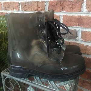 Chemistry clear black boots size 8